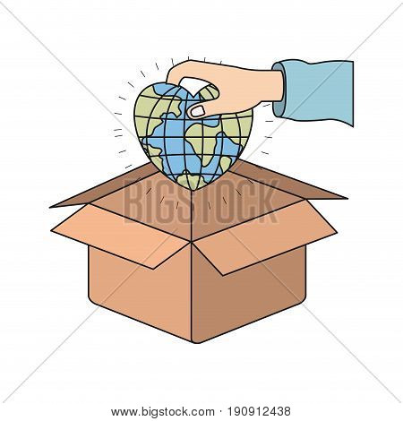 colorful silhouette hand holding a globe earth world in heart shape to deposit in cardboard box vector illustration