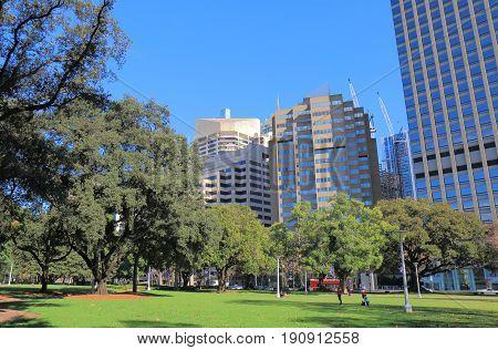 Hyde park cityscape in downtown Sydney Australia
