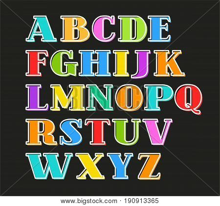 English alphabet colorful letters, white outline, black background, vector. Capital letters with serif on a black background. White outline is offset to the side.