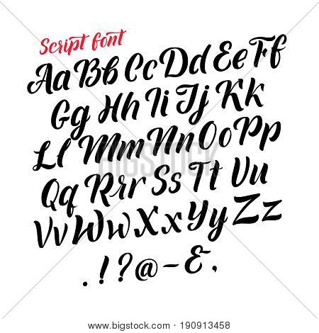 Handwritten latin alphabet. Cursive black letters. Vector fonts isolate on white background. Alphabet handwritten type, illustration of typography calligraphy abc