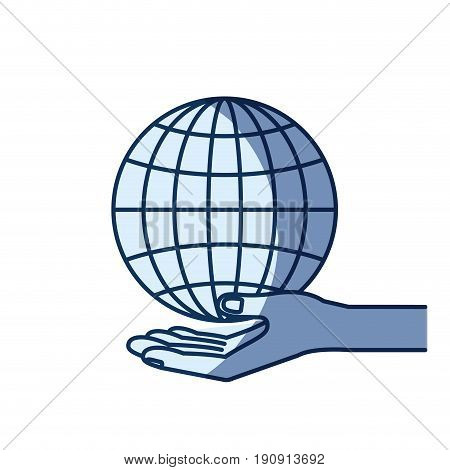 blue color silhouette shading of hand palm giving a globe chart charity symbol vector illustration