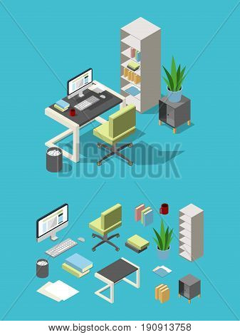 Isometric office workspace with different furniture and elements. Table, chair and computer, lamp and flowers. Business office furniture for workplace, vector illustration