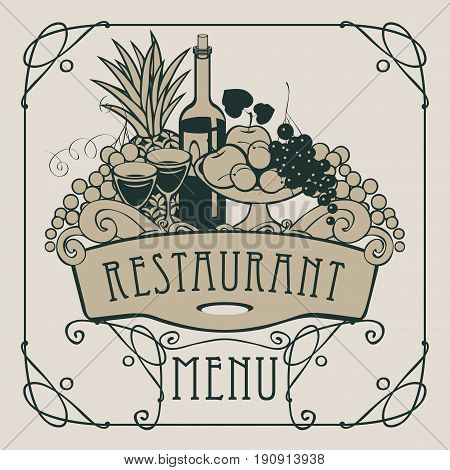 Vector restaurant menu with a picture of a hand with a tray on which is a still life with two glasses of wine bottle and fruits in an Art Nouveau style with a curly frame.
