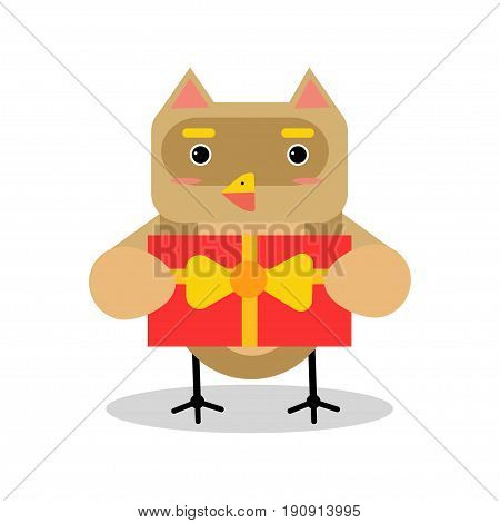 Cute cartoon owl bird character in geometric shape holding red gift box vector Illustration isolated on a white background