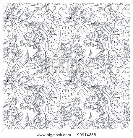 Seamless monochrome pattern stylized fishs, waves stock vector illustration