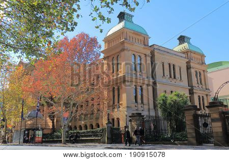SYDNEY AUSTRALIA - MAY 31, 2017: Unidentified people visit Sydney hospital. Sydney hospital s the oldest hospital in Australia dating back to 1788.
