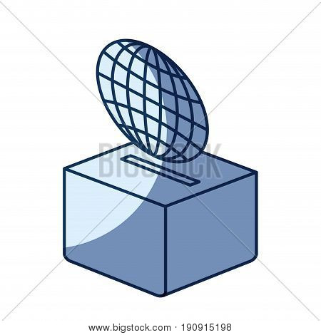 blue color silhouette shading of flat globe earth world chart depositing in a carton box vector illustration