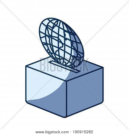 blue color silhouette shading of flat globe earth world depositing in a carton box vector illustration