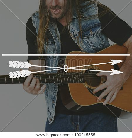 Guitarist Playing Music Banner Frame