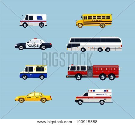 Vehicle Transportation - modern vector flat design icons set. Mail, school bus, police car, taxi, ambulance, charter, ice cream truck, fire engine. Make a presentation, display city services.