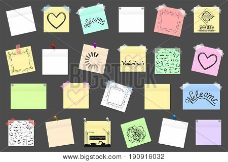 Mega Pack Of Colored Office Paper Stickers With Shadow Isolated. Vector Illustration