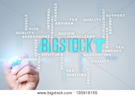 Audit business concept Auditor Compliance. Virtual screen technology