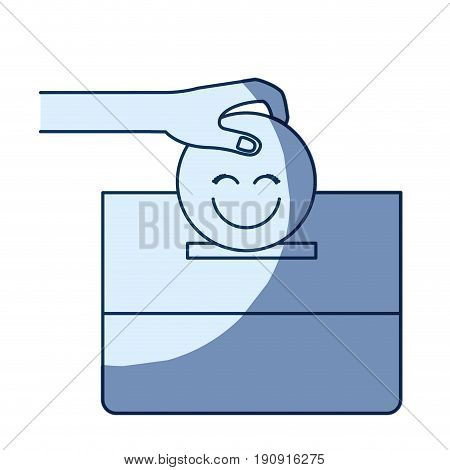 blue color silhouette shading of front view hand with flat happy face depositing in a carton box vector illustration