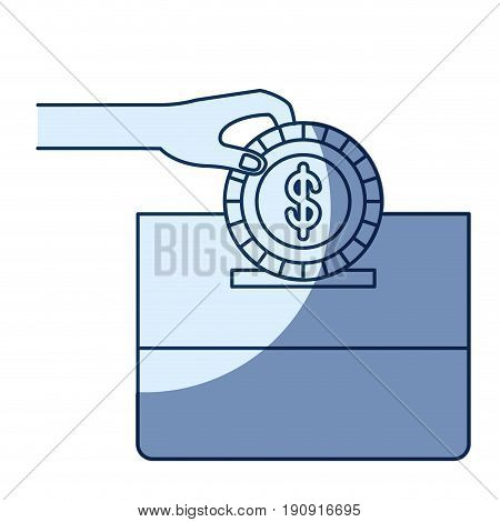 blue color silhouette shading of front view hand with flat coin with dollar symbol depositing in a carton box vector illustration