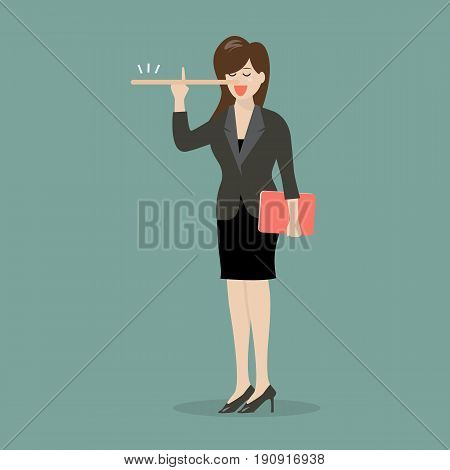 Lying business woman with long nose. Vector illustration