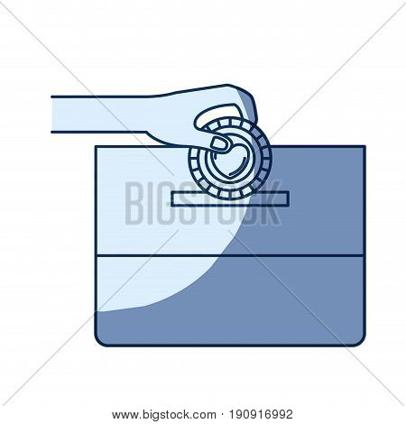 blue color silhouette shading of front view hand with flat coin with heart symbol inside depositing in a carton box vector illustration