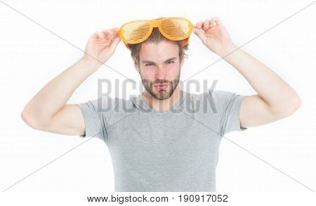 Young Man In Grey Shirt With Funny Orange Big Glasses