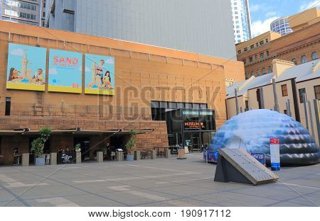 SYDNEY AUSTRALIA - MAY 31, 2017: Museum of Sydney. Museum of Sydney is a historical collection and exhibit built on the ruins of the house of New South Wales.