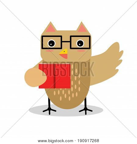 Cute cartoon owl bird character in geometric shape wearing glasses and holding red gift box vector Illustration isolated on a white background