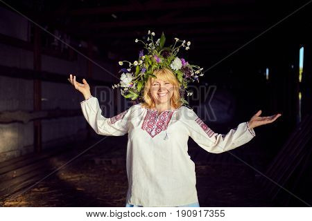 Beautiful woman with a wreath on her head