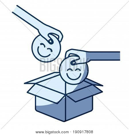 blue color silhouette shading of side view of pair hands holding a happy faces symbol to deposit in cardboard box vector illustration