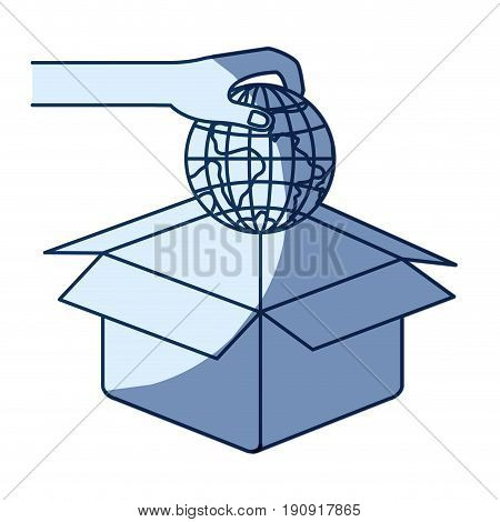blue color silhouette shading of hand holding a globe earth world to deposit in cardboard box vector illustration