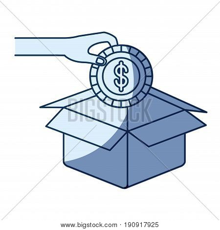 blue color silhouette shading of hand holding a coin with dollar symbol inside to deposit in cardboard box vector illustration