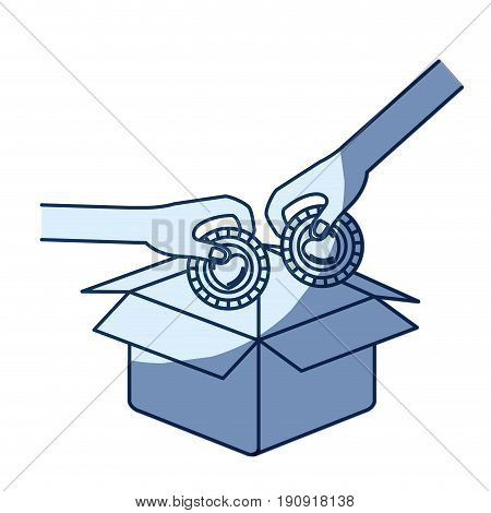 blue color silhouette shading of side view of pair hands holding a coins with heart shape inside to deposit in cardboard box vector illustration