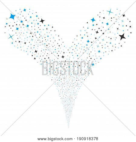 Shine Stars source stream. Vector illustration style is flat blue and gray iconic shine stars symbols on a white background. Object fountain combined from random symbols.