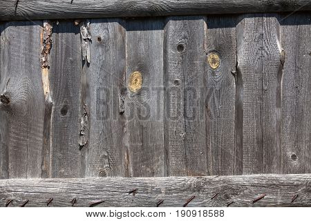 Old peeling fence. Old torn boards. Background of aged peeled boards.
