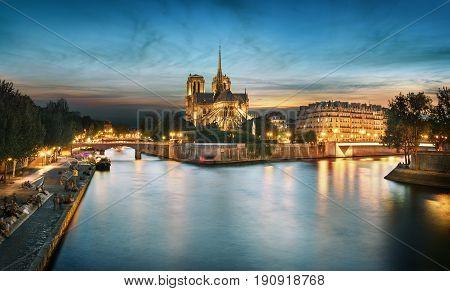 Ile de la Cite and Notre Dame at sunset Paris France