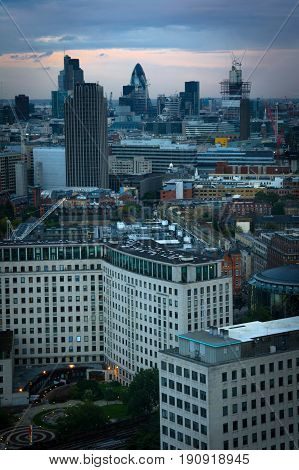 landscape from the london eye at dusk