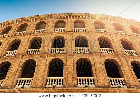 mediterranean architecture. plaza de toros bullring in Valencia Spain