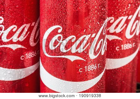 Moscow, Russia - April 13, 2017: Coca Cola in a tin can. Coca-Cola is a carbonated non-alcoholic beverage sold all over the world