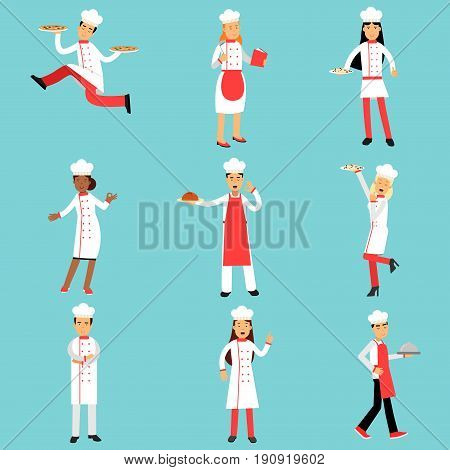 Chief cooks and bakers at work set. Professional kitchen staff Illustrations on a light blue background