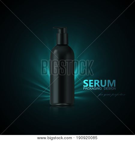 Anti aging serum ads poster template. Cosmetics product. Cosmetic packaging mockup design. Black bottle with shiny light rays. 3d vector fashion magazine illustration.