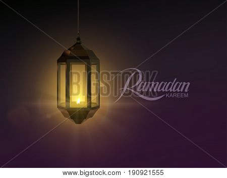 Ramadan Kareem. Vector illustration of handwritten Ramadan Kareem retro label and glowing arabic lantern with light rays. Muslim holy month Ramadan banner design