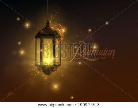 Ramadan Kareem. Vector islamic religious illustration of glowing arabic lantern and shiny particles. Muslim holy month Ramadan postcard design