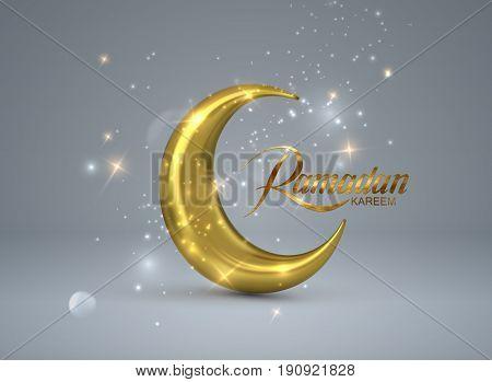 Ramadan Kareem. Vector 3d islam religious illustration of shiny particles, stars and golden crescent moon. Muslim holy month Ramadan postcard design