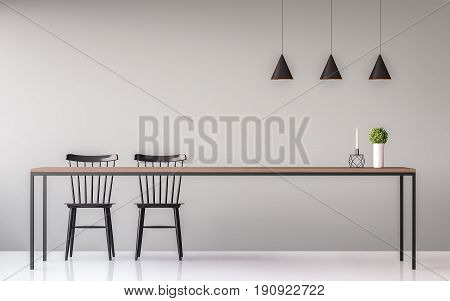 Modern dining room minimal image style 3d render.There are minimalist style image gray empty wall and white floor