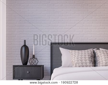 Modern loft bedroom 3d rendering image Furnished with Black steel furniture has white brick walls