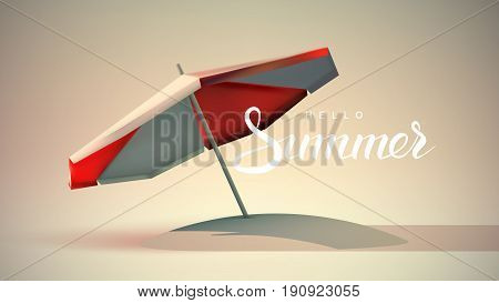 Hello Summer lettering label with Red and white beach umbrella. Open sun parasol. Vector illustration. Summer beach holidays concept