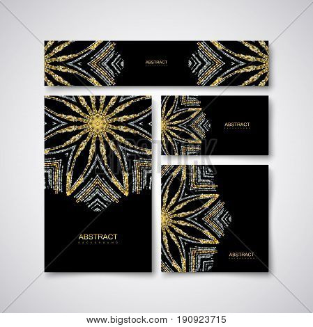 Festive stationery design template with glittering golden and silver paillettes ornament. Vector illustration. Luxury stationery, cover, postcard, greeting card, flyer, banner with golden particles.