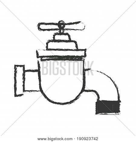 monochrome blurred silhouette of faucet icon vector illustration