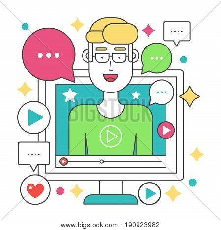 Video blogger flat line concept. Computer screen with man blogger. Personal channel broadcasting stroke vector illustration