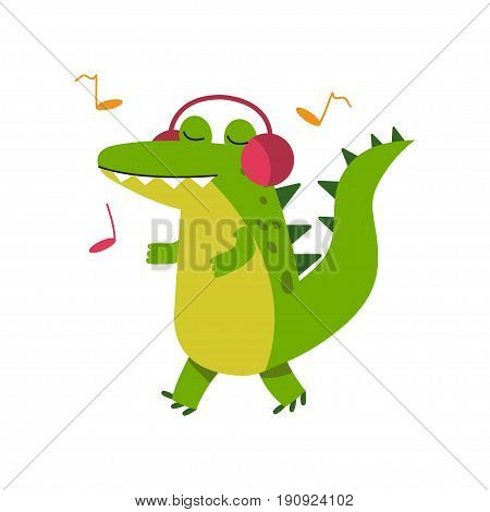 Funny cartoon crocodile character in headphones listening music and walking vector Illustration isolated on a white background