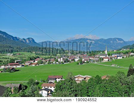Village of Ellmau am Wilden Kaiser in Tirol,european Alps,Austria