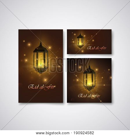 Eid al Fitr. Vector islamic religious illustration of stationery with glowing arabic lantern. Muslim Feast of Breaking the Fast postcard, flyer, cover design