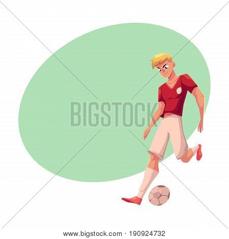 Handsome blond soccer, football player in uniform dribbling a ball, cartoon vector illustration with space for text. Professional soccer player dribbling a ball, running, playing football