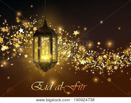 Eid al-Fitr. Vector islamic religious illustration of Eid al-Fitr label and glowing arabic lantern with sparkling wave of stars and glitters. Muslim Feast of Breaking the Fast postcard design